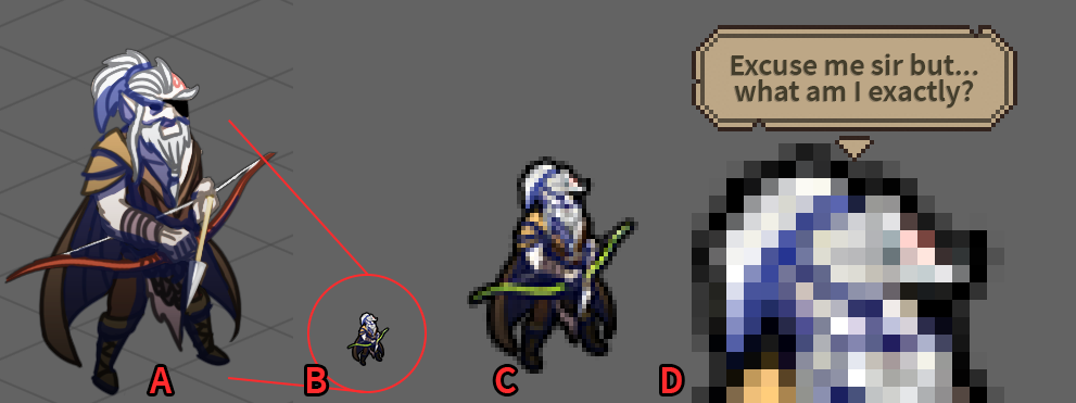 The Last Spell art direction - Zoomed sprite